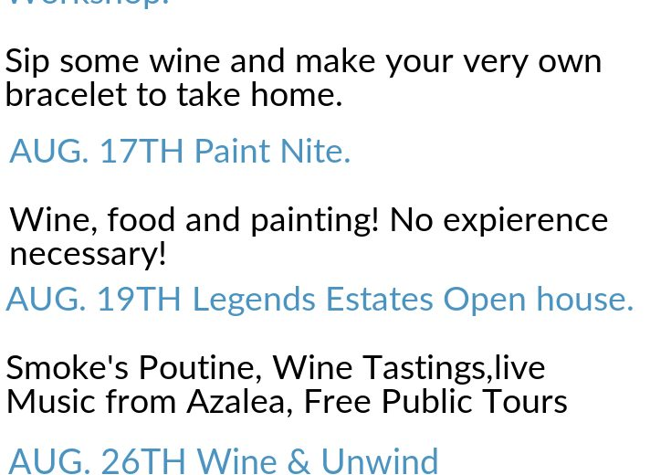 Events at Legends Estates Winery